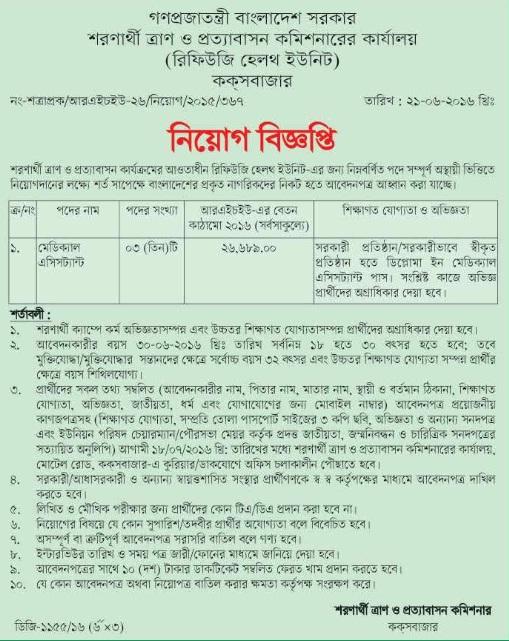 Ministry Of Relief Job Circular