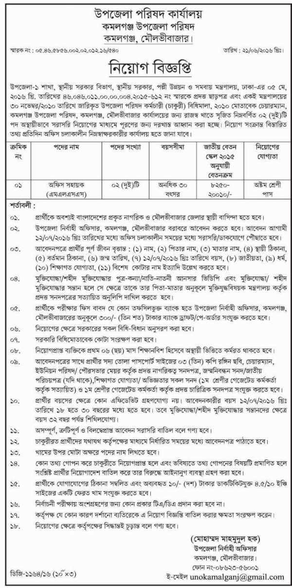 Upazila Parishad office Job