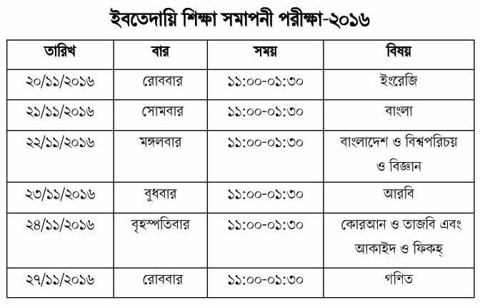 Ebtayee Examination Schedule