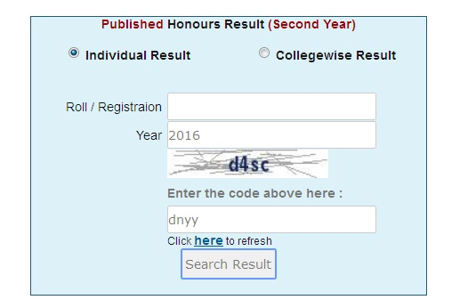 Honours 2nd Year Result 2016
