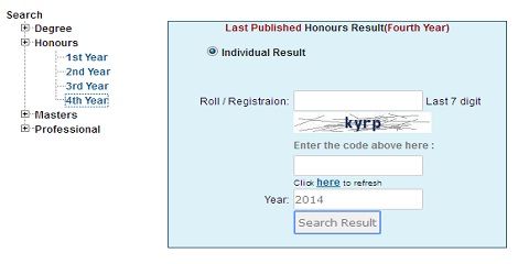 Honours 4th year result 2016