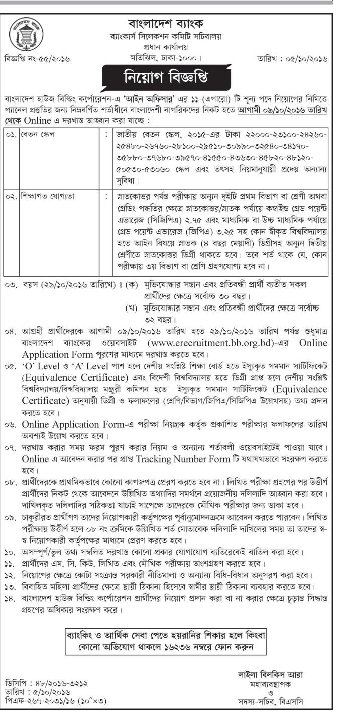 Bangladesh Bank Circular October 2016
