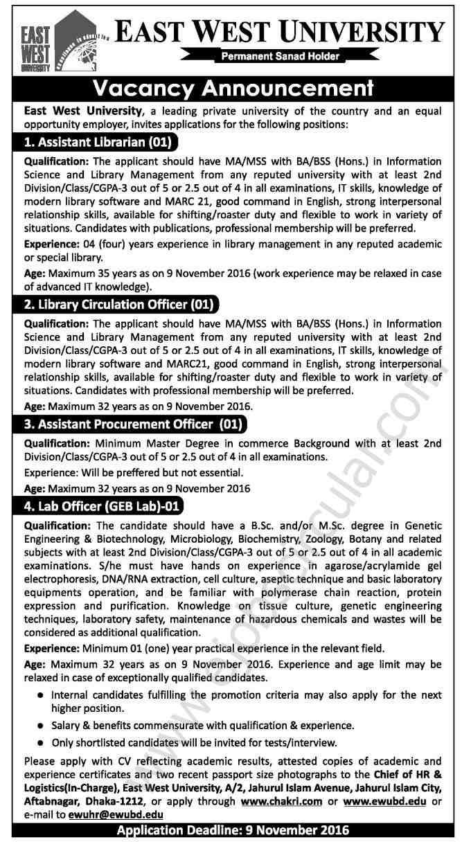 East West Univesity Job Circular