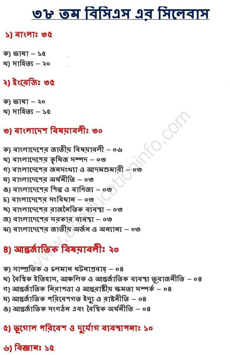 Bcs Preliminary Syllabus Pdf