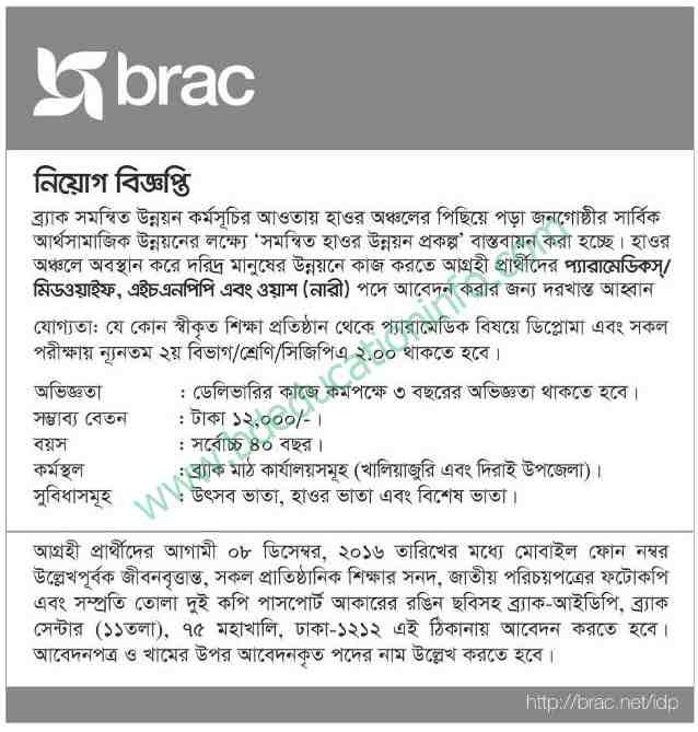 Brac job recruitment Notice