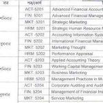 MBA 2nd Semester Exam Routine