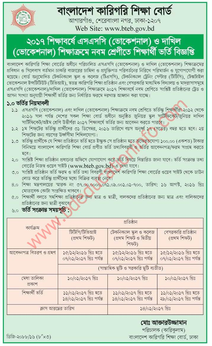 SSC Vocational Admission 2017